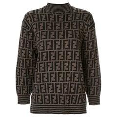 Fendi Zucca Monogram Logo Women's Logo Long Sleeve Mock Neck Sweater Shirt