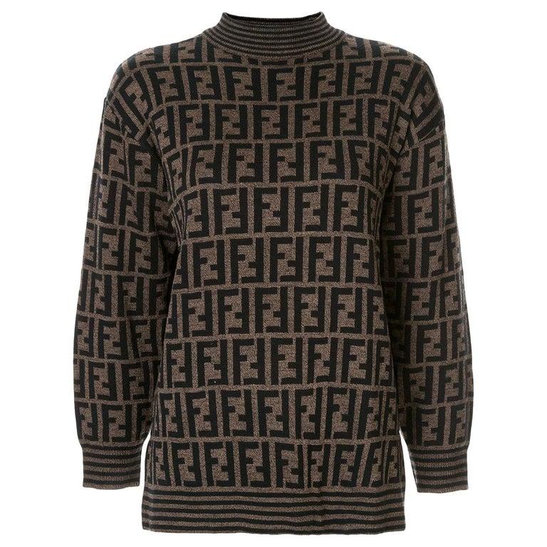 257cc1b9 Fendi Zucca Monogram Logo Women's Logo Long Sleeve Mock Neck Sweater Shirt