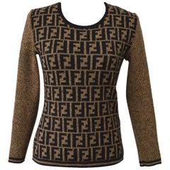 Fendi Zucca Monogram Logo Women's Logo Long Sleeve Sweater Shirt