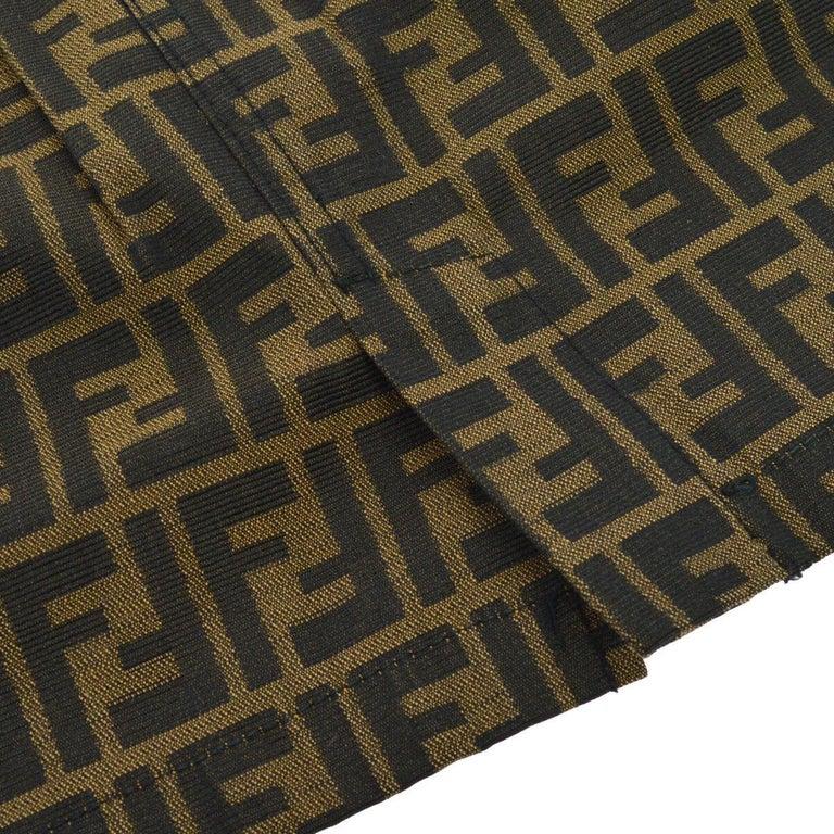 Black Fendi Zucca Monogram Logo Women's Logo Short  Above the Knee Skirt For Sale