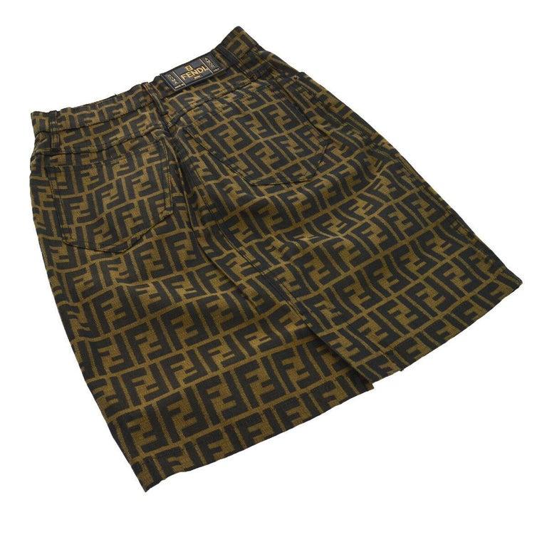 Fendi Zucca Monogram Logo Women's Logo Short  Above the Knee Skirt In Good Condition For Sale In Chicago, IL