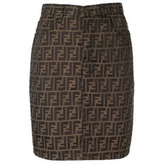 Fendi Zucca Monogram Logo Women's Logo Short  Above the Knee Skirt