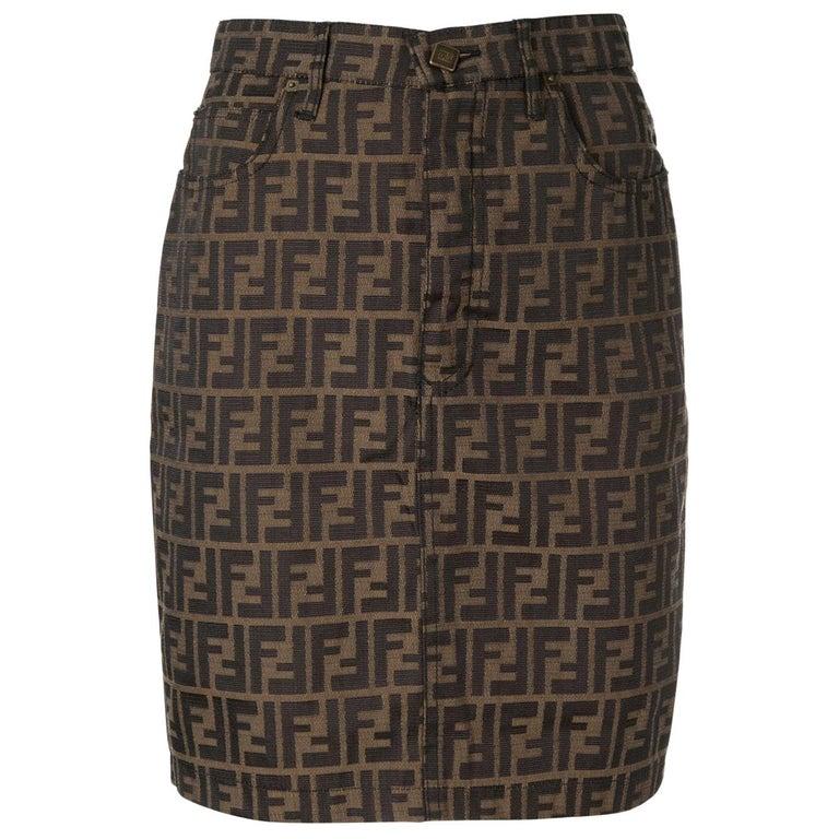 Fendi Zucca Monogram Logo Women's Logo Short  Above the Knee Skirt For Sale