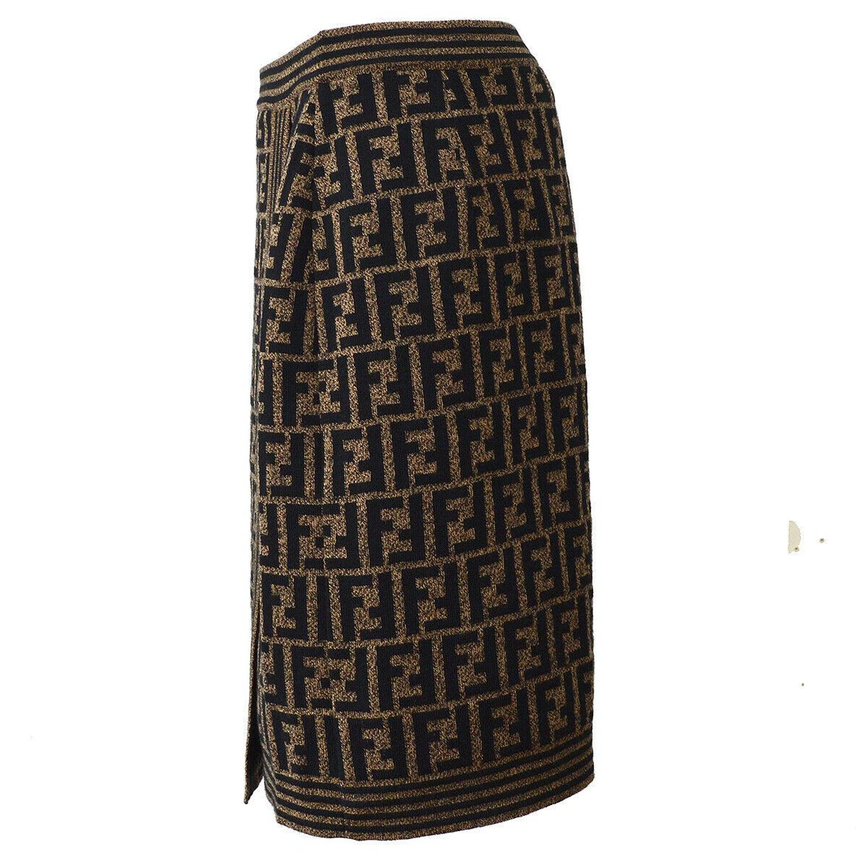 ca2e7718d Fendi Zucca Pattern Monogram Light Wool Logo Wrap Evening Suit Pencil Skirt  For Sale at 1stdibs