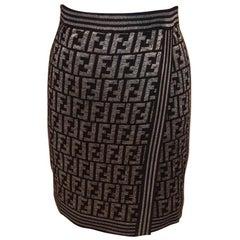 Fendi Zucca Pattern Monogram Light Wool Logo Wrap Evening Suit Pencil Skirt