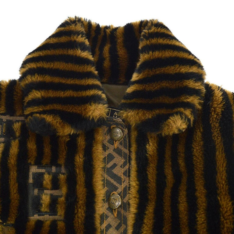 Fendi Zucca Pattern Monogram Women's Logo Black Brown Bomber Jacket Coat  Size listed IT 40 Acetate Rayon Button closure Made in Italy Shoulder width 18