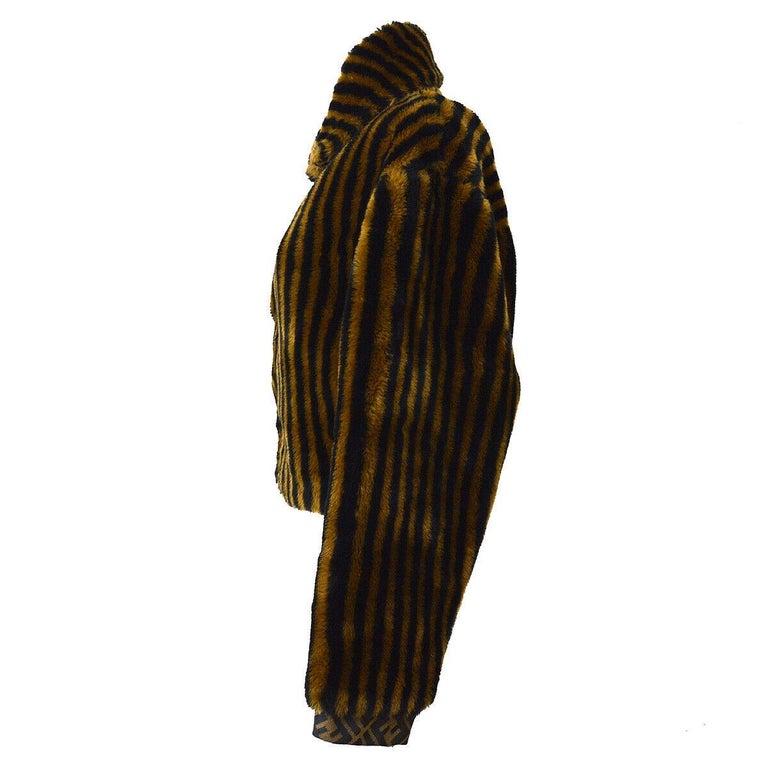 Fendi Zucca Pattern Monogram Women's Logo Black Brown Bomber Jacket Coat For Sale 1