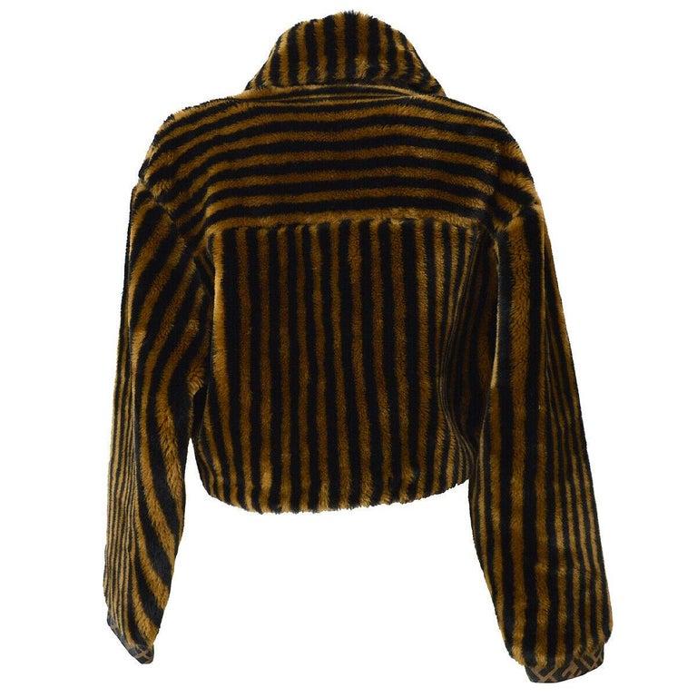 Fendi Zucca Pattern Monogram Women's Logo Black Brown Bomber Jacket Coat For Sale 2