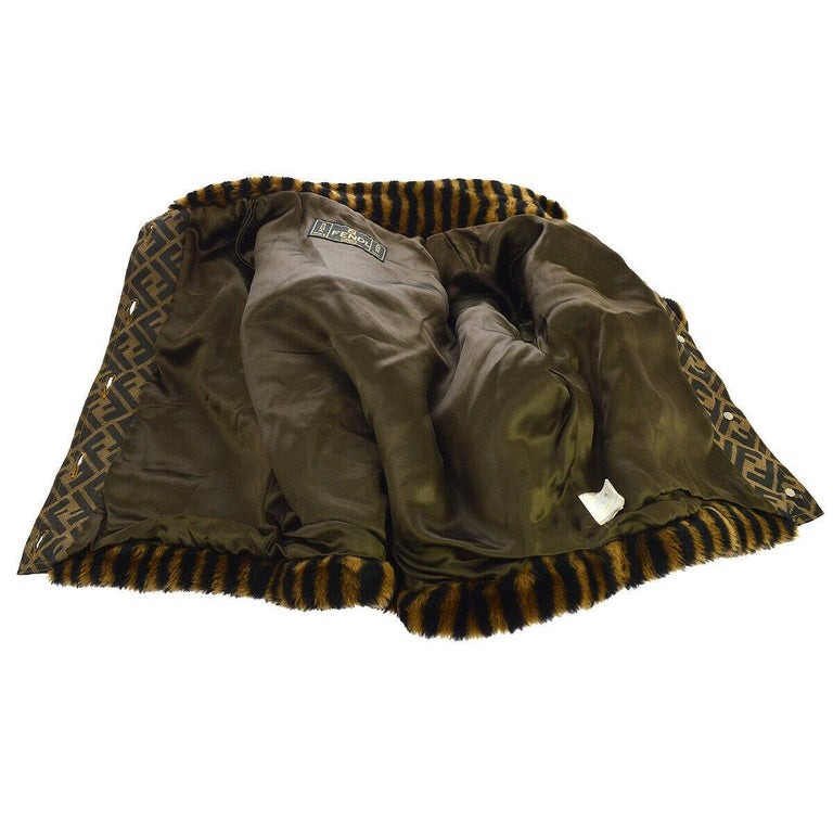 Fendi Zucca Pattern Monogram Women's Logo Black Brown Bomber Jacket Coat For Sale 3