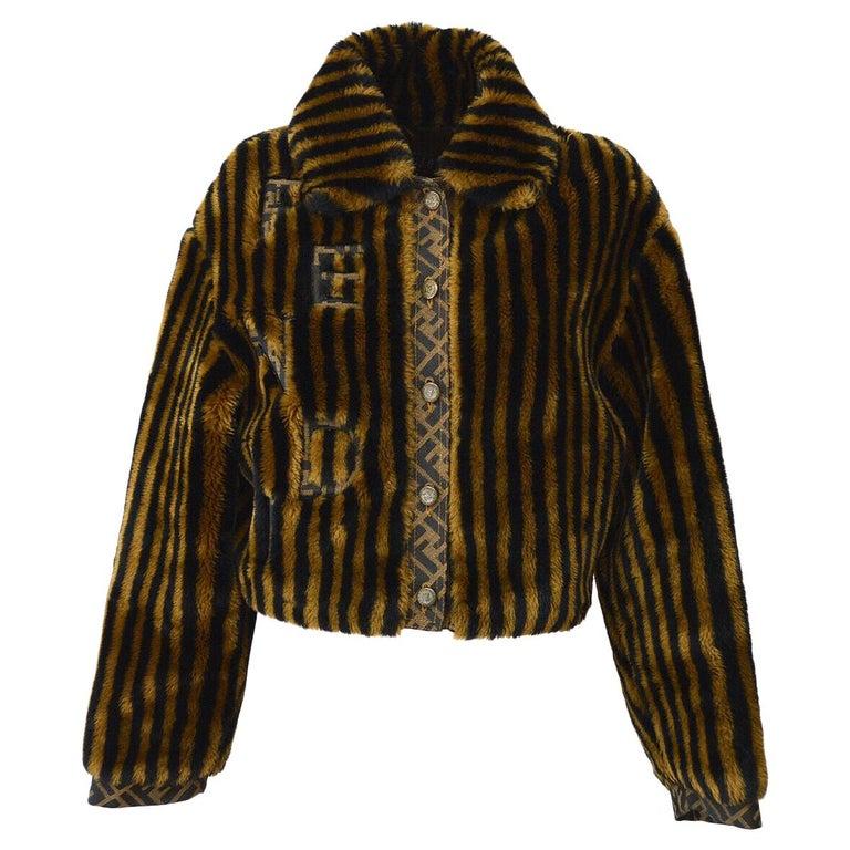 Fendi Zucca Pattern Monogram Women's Logo Black Brown Bomber Jacket Coat For Sale