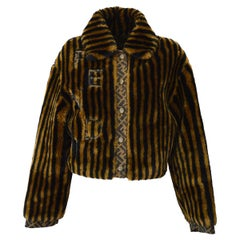 Fendi Zucca Pattern Monogram Women's Logo Black Brown Bomber Jacket Coat