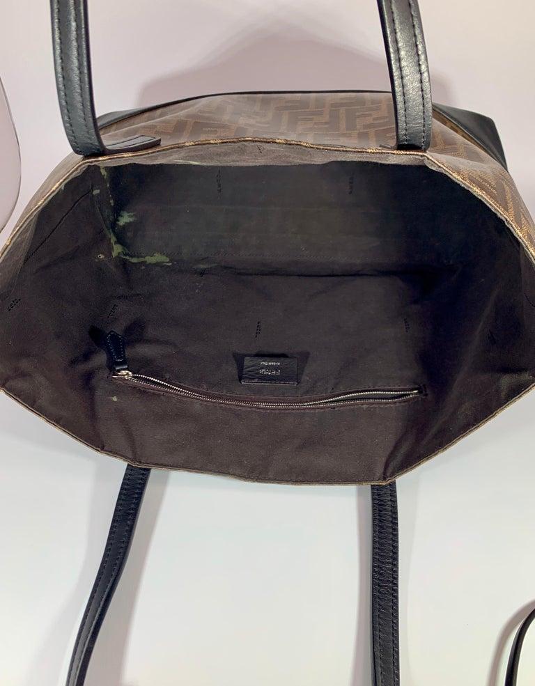 Fendi  Zucca Print  Neverful Tote Shoulder Bag  - Leather/ Canvas, Brown/Black For Sale 6