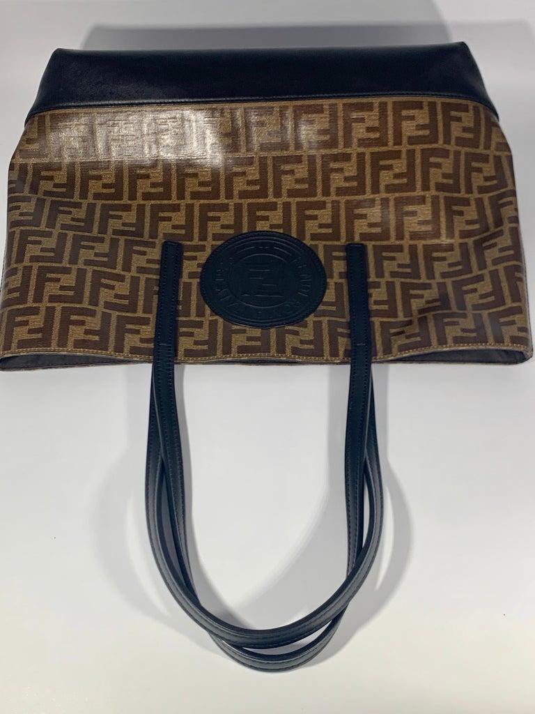 Fendi  Zucca Print  Neverful Tote Shoulder Bag  - Leather/ Canvas, Brown/Black For Sale 2