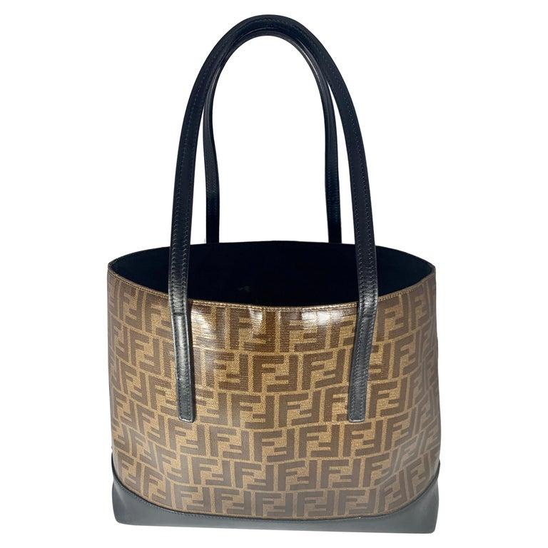 Fendi  Zucca Print  Neverful Tote Shoulder Bag  - Leather/ Canvas, Brown/Black For Sale