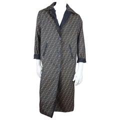 Fendi Zucca Reversible Unisex Top Coat, c. 2000's, Size M