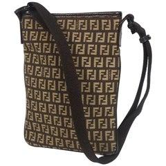 FENDI Zucchino cross body Womens shoulder bag dark brown x beige