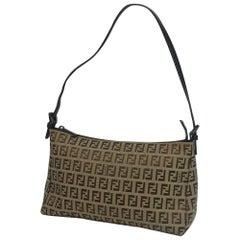 FENDI Zucchino one shoulder Womens shoulder bag beige x brown