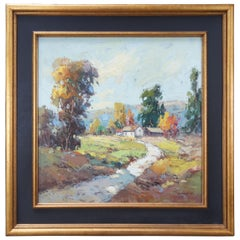 """Feng H.M. Impressionist Landscape Oil Painting Country Farmhouse 41"""""""