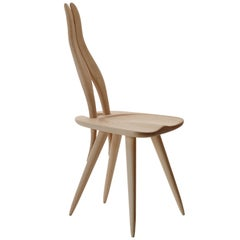Fenis Side Chair in Natural Wood by Carlo Mollino
