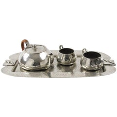 Fenton Bros Ltd Sheffield England Art Nouveau Pewter Tea Coffee Tray Serving Set