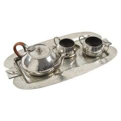 Fenton Bros Sheffield England Art Nouveau Pewter Tea Coffee Tray Set
