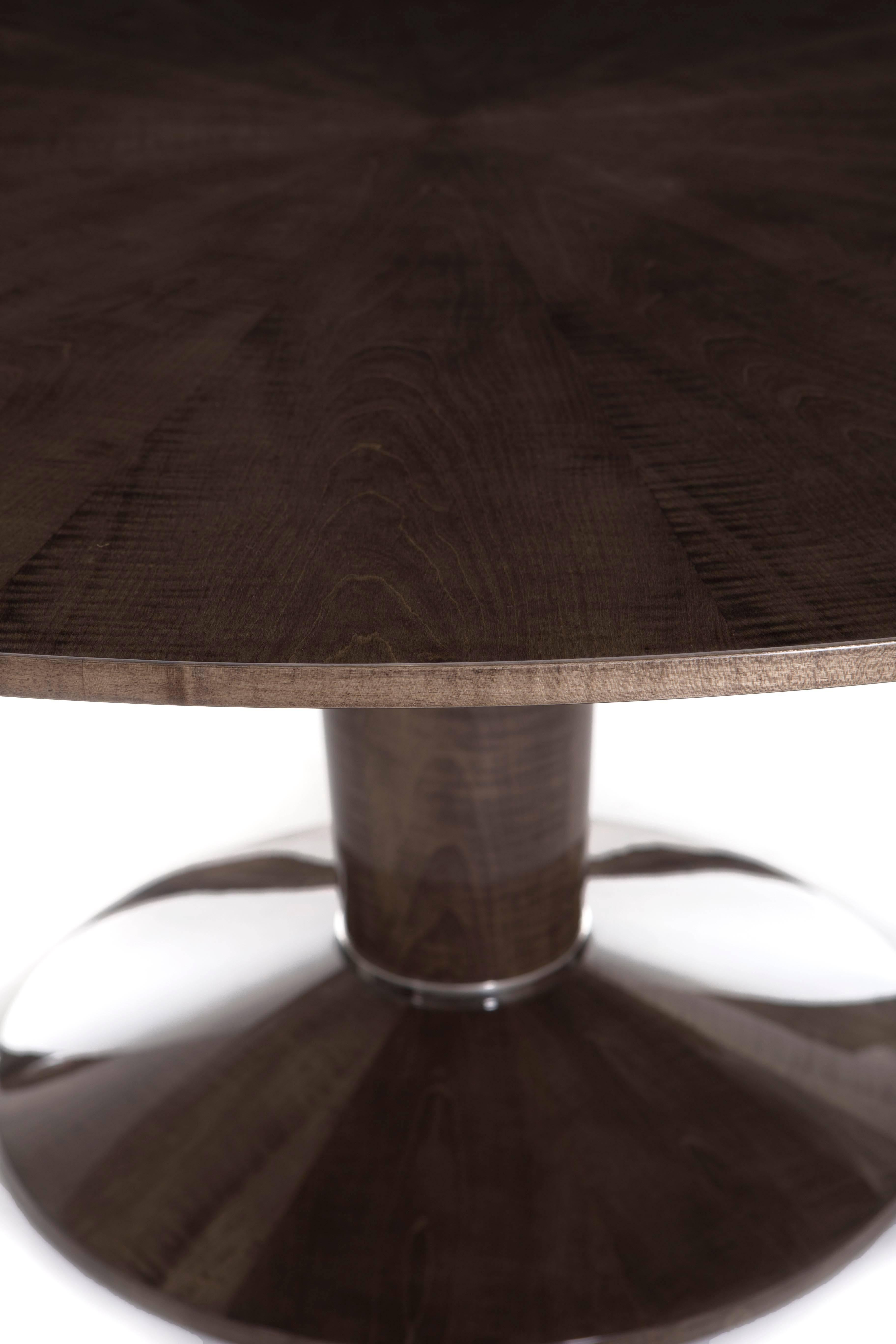 A Modern Fenwick Dining Table High Gloss Sycamore Dusk And Polished Nickel