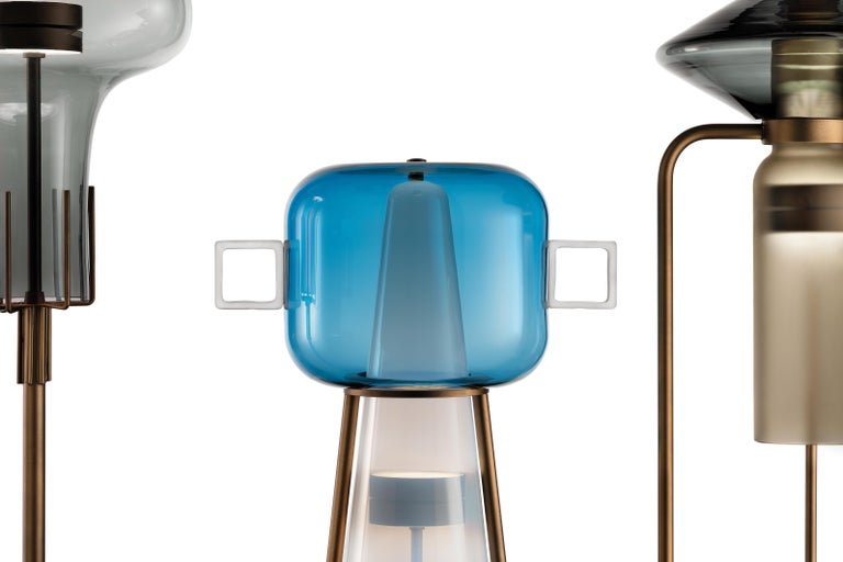 Ferai Bollegheri floor lamp by Salviati. Designed by Alberto Lago. More glass colors and glass finishing options are available upon request, subject to price change. Version shown in picture is steel gray top glass color and Kaiser gray bottom glass