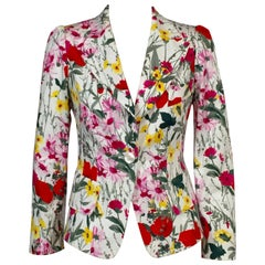 Feraud White Cotton Jacket with Colorful Floral Print