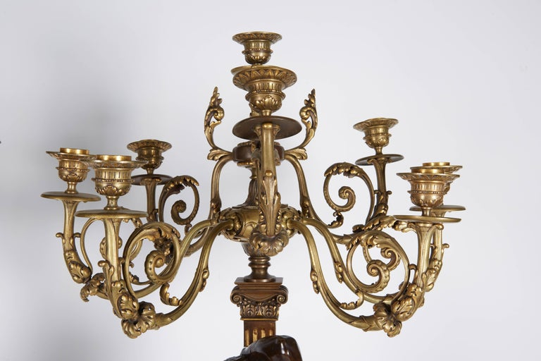 Ferdinand Barbedienne, a Large Pair of French Gilt Patinated Bronze Candelabras In Good Condition For Sale In New York, NY