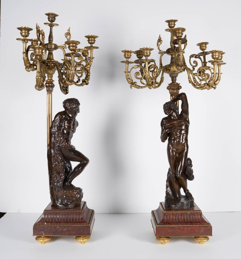 Ferdinand Barbedienne, a Large Pair of French Gilt Patinated Bronze Candelabras For Sale 1