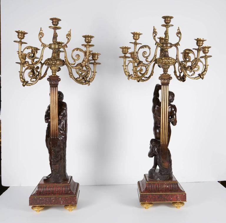 Ferdinand Barbedienne, a Large Pair of French Gilt Patinated Bronze Candelabras For Sale 3