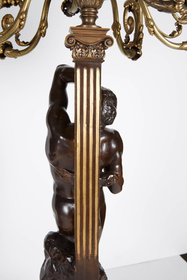 Ferdinand Barbedienne, a Large Pair of French Gilt Patinated Bronze Candelabras For Sale 4