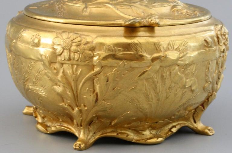Ferdinand Barbedienne Art Nouveau Gilt Bronze Lidded Box by Robinet For Sale 13