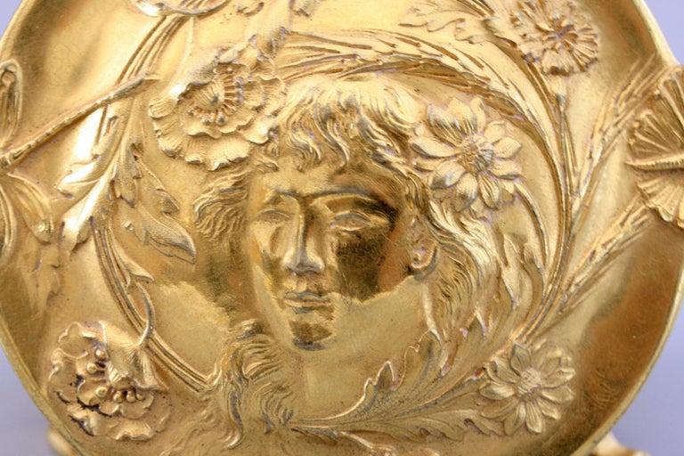 Ferdinand Barbedienne Art Nouveau Gilt Bronze Lidded Box by Robinet For Sale 14