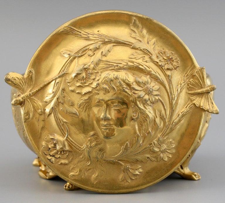 Ferdinand Barbedienne Art Nouveau Gilt Bronze Lidded Box by Robinet For Sale 15