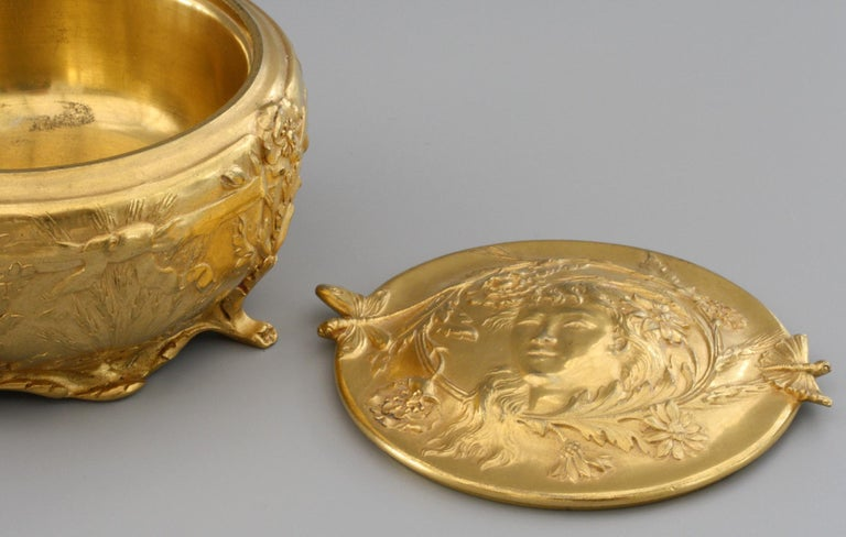 French Ferdinand Barbedienne Art Nouveau Gilt Bronze Lidded Box by Robinet For Sale