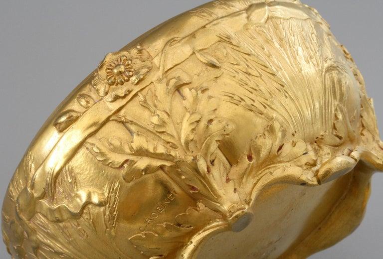 Ferdinand Barbedienne Art Nouveau Gilt Bronze Lidded Box by Robinet For Sale 2