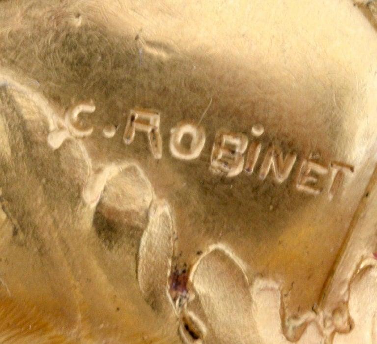 Ferdinand Barbedienne Art Nouveau Gilt Bronze Lidded Box by Robinet For Sale 3