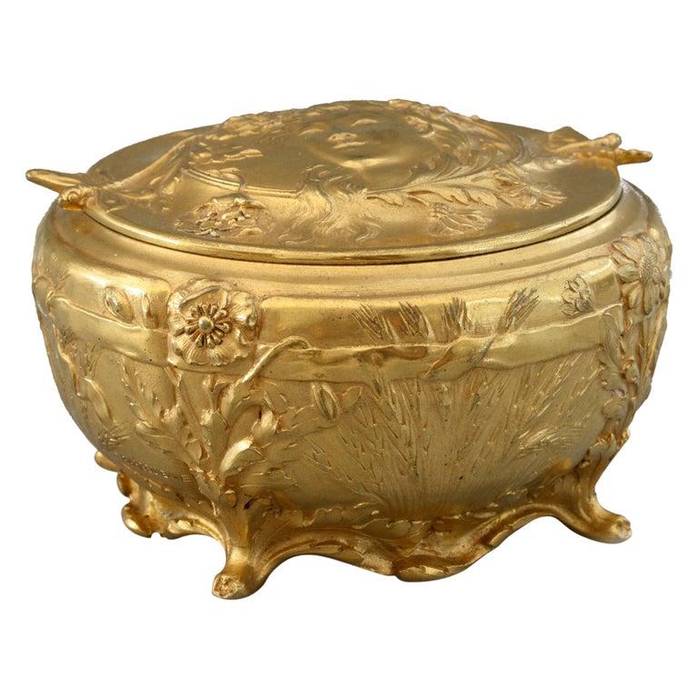 Ferdinand Barbedienne Art Nouveau Gilt Bronze Lidded Box by Robinet For Sale