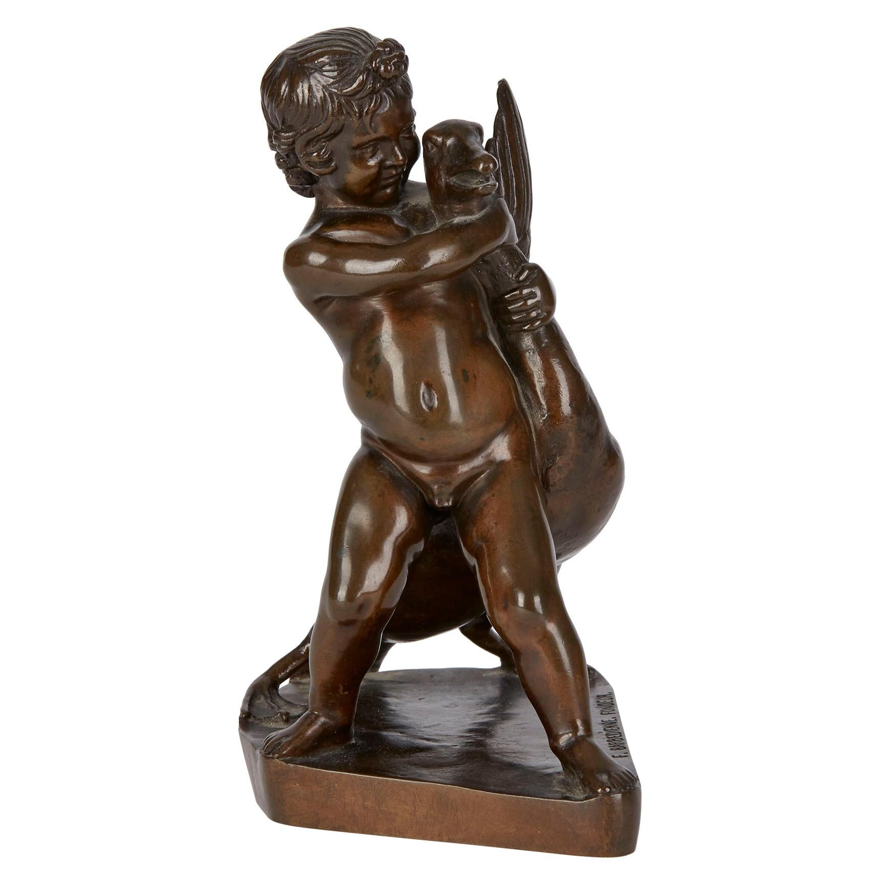 Ferdinand Barbedienne Bronze Boy & Goose Sculpture 19th Century