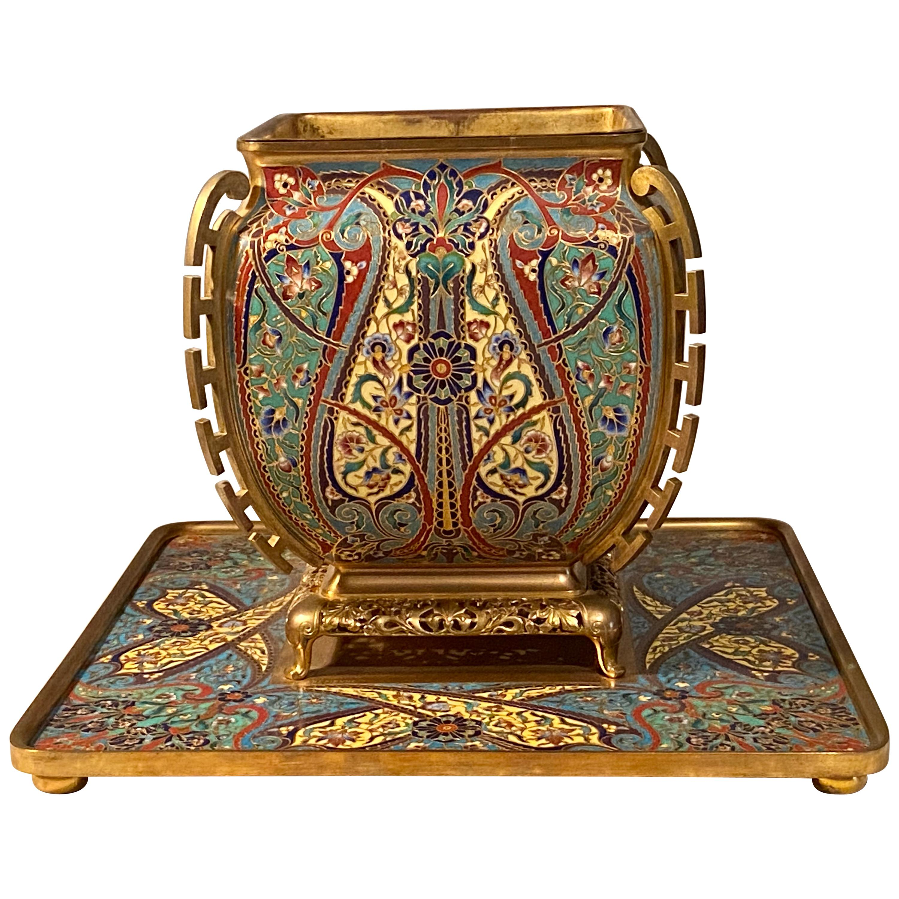 Ferdinand Barbedienne Enamel and Gilt Bronze Vase and Stand