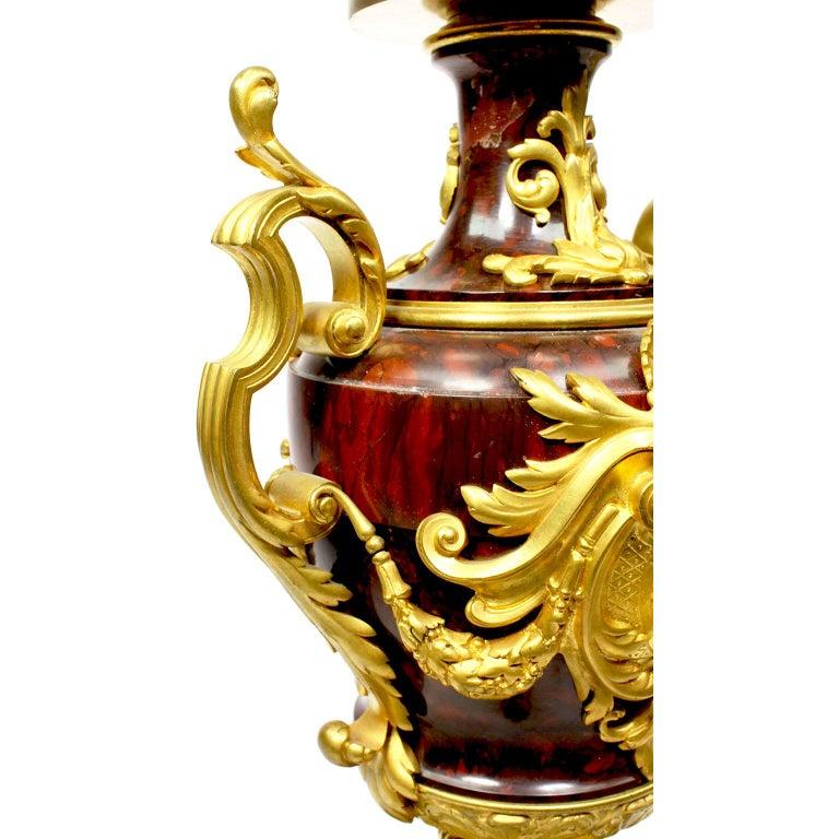 Ferdinand Barbedienne Pair of Marble & Ormolu Urn Low Tables For Sale 4
