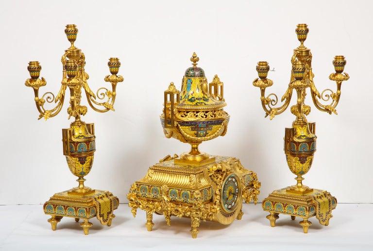 Ferdinand Barbedienne, Museum Quality French Ormolu Champleve Enamel Clock Set For Sale 4