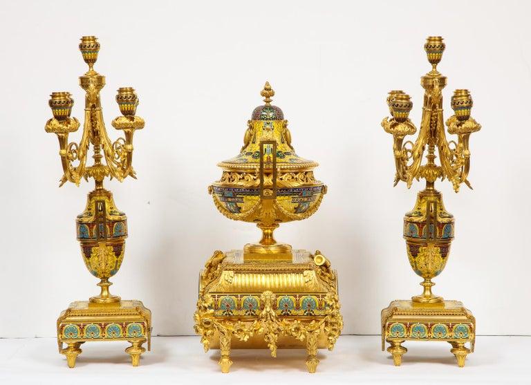 Ferdinand Barbedienne, Museum Quality French Ormolu Champleve Enamel Clock Set For Sale 5