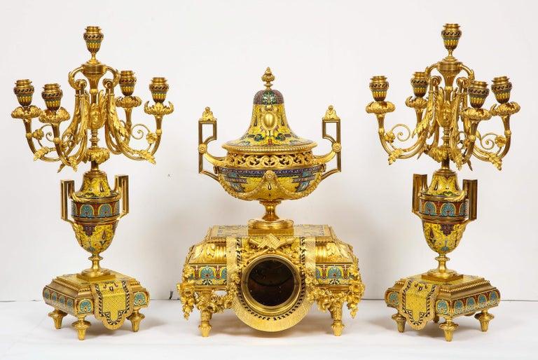 Ferdinand Barbedienne, Museum Quality French Ormolu Champleve Enamel Clock Set For Sale 7