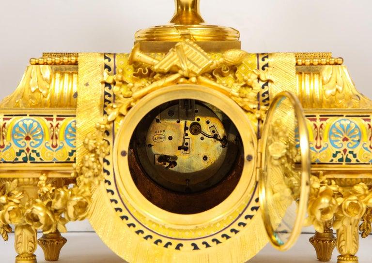 Ferdinand Barbedienne, Museum Quality French Ormolu Champleve Enamel Clock Set For Sale 8