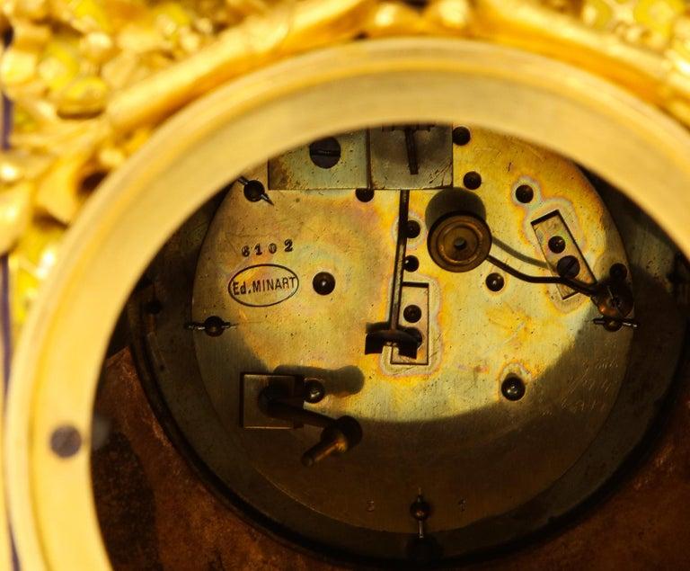 Ferdinand Barbedienne, Museum Quality French Ormolu Champleve Enamel Clock Set For Sale 9