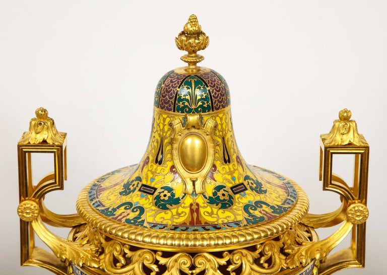 Ferdinand Barbedienne, Museum Quality French Ormolu Champleve Enamel Clock Set For Sale 11