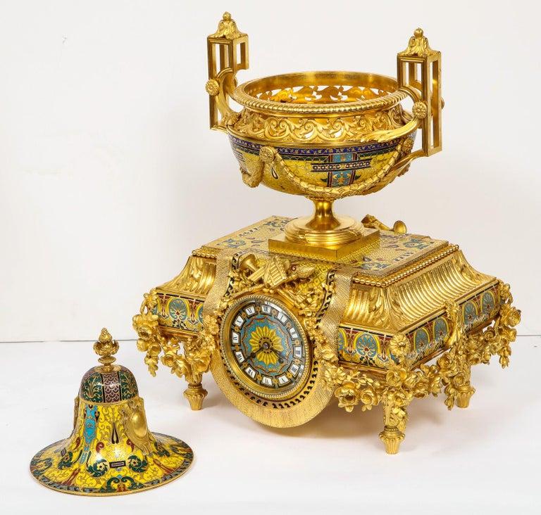 Ferdinand Barbedienne, Museum Quality French Ormolu Champleve Enamel Clock Set For Sale 12
