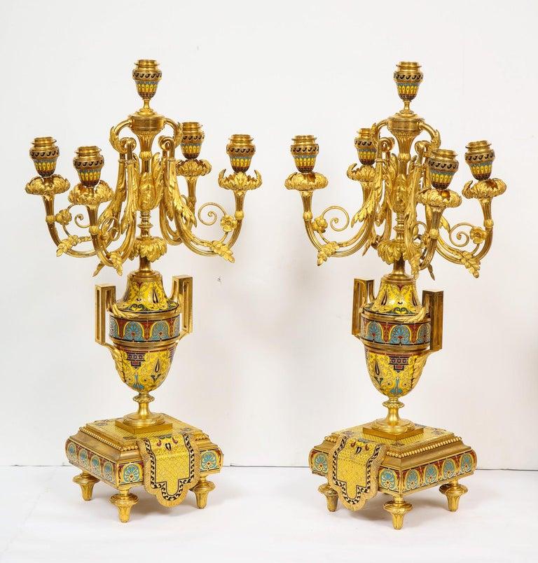 Ferdinand Barbedienne, Museum Quality French Ormolu Champleve Enamel Clock Set For Sale 13